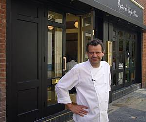 Mark Hix outside his new Oyster & Chop House in Smithfield, London