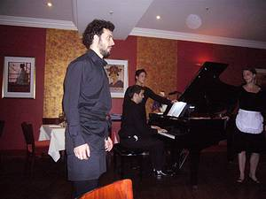 Dinner time entertainment at Bel Canto, London